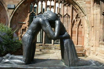 This sculpture is called 'Reconciliation'. It is in the ruins of the old Coventry Cathedral in England
