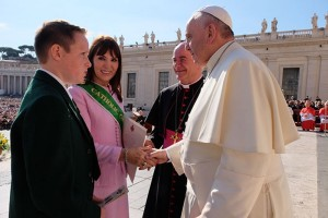 Pope Francis greets Catherine Wiley and her grandson Tom at 'Blessing of a Long Life' gathering in St Peter's Square.