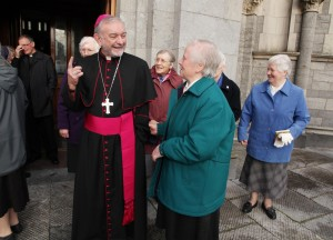 Bishop Kieran O'Reilly SMA who will be the new Archbishop of Cashel and Emly greeting people outside the Cathedral of the Assumption in Thurles Co Tipperary after the announcement of his appointment on Saturday morning. Pic John Mc Elroy.