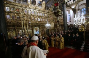 Pope Francis attends a holy liturgy celebrated by Ecumenical Patriarch Bartholomew I in Istanbul.
