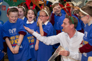 Ryan Tubridy joined with children from St. Margaret's NS, Co. Dublin to launch the SVP Annual Appeal. Picture Colm Mahady/Fennells.