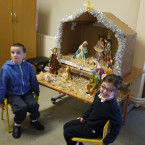Gabriel and Mary, students of St Raphael's, with the donated nativity.