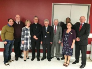 Pictured with papal nuncio Archbishop Charles Brown at a ceremony commissioning new Ministers of the Eucharist at Beaumont Hospital are: (l-r) Jun Bibat, Paschal Robinson, Gerty Bryce, Fr Eoin Hughes, Eddie Bryce, Jenny Cuypers, Msgr Amaury Medina Blanco and Alan Larkin