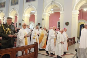 Archbishop Diarmuid Martin in the procession at the beginning of the World Day of Peace Mass in the Church of the Three Patrons Rathgar in Dublin on New Year's Day. Pic John Mc Elroy.