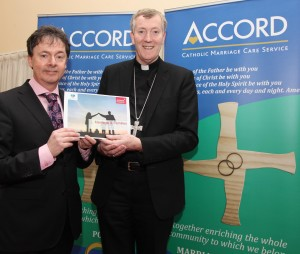 Bishop Denis Nulty, President of Accord, at the launch of Amárach's research findings on Irish attitudes to marraige and the family with Gerard O'Neill from Amarach Research in Whitefriar St Church in Dublin. Pic John Mc Elroy.