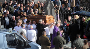 Fr Turlough Baxter leads mourners at the funeral of Barney McGinley. Pic courtesy breakingnews.ie