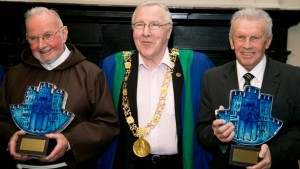 Dublin's Lord Mayor, Cllr Christy Burke with Br Kevin Crowley and John Giles - Freemen of Dublin. Pic: courtesy: RTE.ie