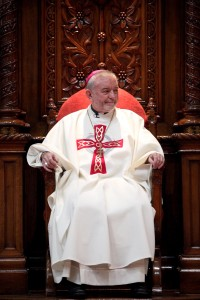 Archbishop Kieran O'Reilly SMA sitting in the Bishop's chair during the ceremony. Pic: John Mc Elroy.