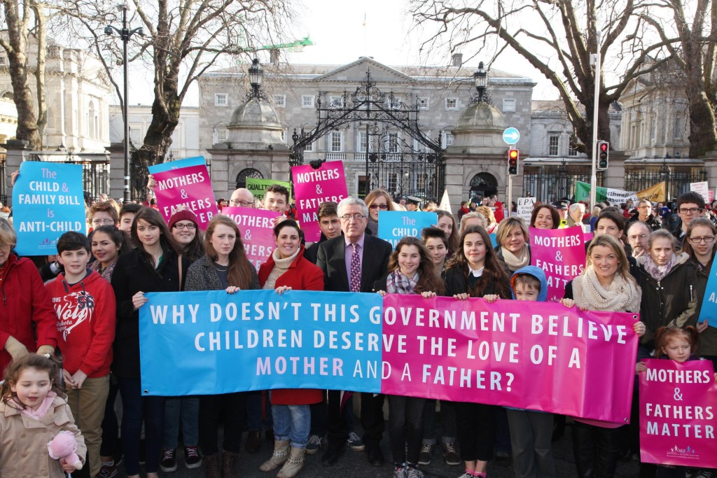 Professor Ray Kinsella and members of the group Mothers and Fathers Matter protest outside the Dáil on Tuesday. Pic: John Mc Elroy.