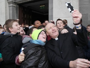 The Bishop elect of Waterford and Lismore taking a selfie with pupils from St Stephen's De La Salle in Waterford. Pic John Mc Elroy.