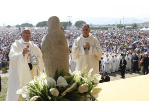 Pope Francis uses incense as he celebrates Mass in the Italian town of Sibari, Calabria. Pic courtesy: The Tablet