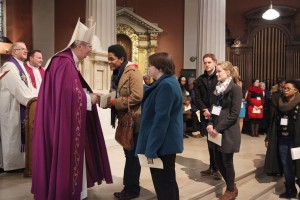Archbishop Diarmuid Martin greets people at the cermony of the Rite of Election of Catechumens for the Easter Sacraments and Recognition of Candidates for reception into full Communion with the Catholic Church. Pic: John Mc Elroy.