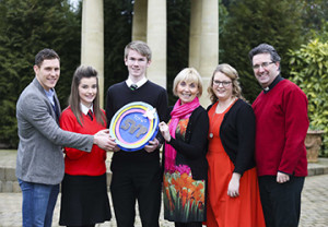 John McAreavey from the Michaela Foundation and guest speaker at the SVP Youth event, joins two of the participants, Catherine Ann Traynor from Our lady of Lourdes High School and Michael Rooney from St. Malachy's College, with Pauline Brown and Claire Morgan from St Vincent de Paul and Father Raymond McCullagh.