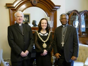Cardinal Turkson with Bishop Noel Treanor and Belfast's Lord Mayor Nichola Mallon