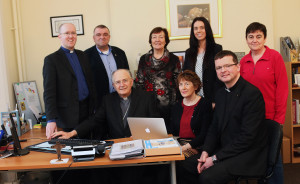 At the launch of the new website are seated from left Bishop Leo O'Reilly; Anne Clarke, Centre Administration; and Fr Enda Murphy, Diocesan Director of Pastoral Services & Youth Ministry. (Back Row – standing): Fr Ultan McGoohan, Chair of Diocesan Pastoral Centre Board of Management; Seán Coll, Pastoral Centre Director; Nancy Sheils, Secretary of Diocesan Catholic Primary Schools Managers' Association;  Jennifer O'Reilly, Diocesan Finance Officer; and Suzie Duffy, Diocesan Safeguarding Director. Photo: Lorraine Teevan.
