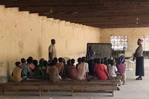 A school for displaced children at a camp at St. Theresa Catholic Church, Yola, Nigeria.