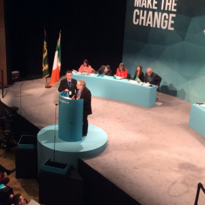 Fr Martin Magill and Rev Steve Stockman address Sinn Fein Ard Fheis
