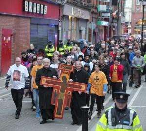 On Good Friday evening the Roman Catholic Archbishop of Dublin Diarmuid Martin and the Church of Ireland Archbishop of Dublin Michael Jackson led a procession through the streets of Dublin from Christ Church Cathedral to the Pro-Cathedral carrying a cross. Pic John Mc Elroy.