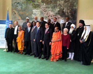 Secretary General Ban Ki Moon with panel of speakers at UN debate.