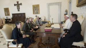 Pope Francis meeting members of the LCWR on 16 April 2015. Pic courtesy: bbc.co.uk