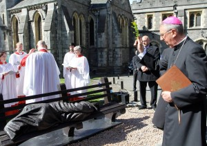 Archbishop Diarmuid Martin blesses the Homeless Jesus sculpture in Christ Church Dublin. Pic: Lynn Glanville