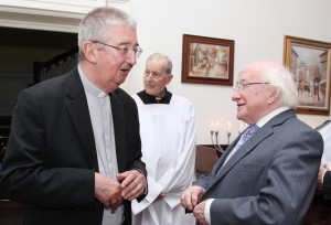 Archbishop Diarmuid Martin of Dublin chatting with President Michael D. Higgins after the Festival of Peoples Mass. Pic John Mc Elroy.