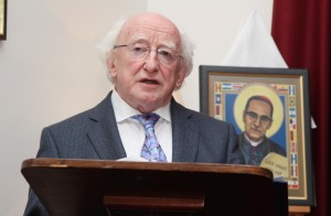President Michael D. Higgins speaking about Archbishop Oscar Romero at a reception after the mass in the Pro-Cathedral Dublin this evening. Pic John Mc Elroy.