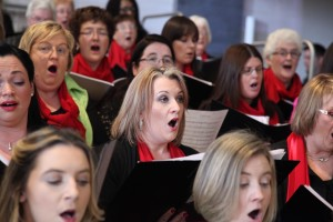 Members of the choir singing at the mass of rededication in St Mel's Cathedral Longford. Pic John Mc Elroy.