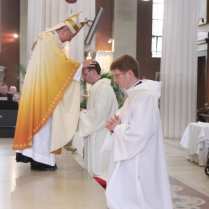 Archbishop Diarmuid Martin laying his hands on Fr Christopher Derwin and Fr Paul Glennon during their ordination cermony in St Mary's Pro Cathedral Dublin. Pic John Mc Elroy.