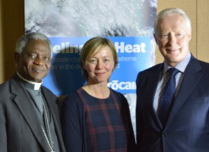 Cardinal Peter Turkson, President of the Pontifical Council for Justice and Peace, Dr Lorna Gold, Trócaire's head of policy and advocacy, Trócaire's Executive Director Éamonn Meehan.