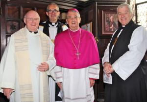 (l to r) Fr Conor Harper SJ, Dean Dermot Dunne, Archbishop Diarmuid Martin and Archbishop Michael Jackson. Pic Lynn Glanville