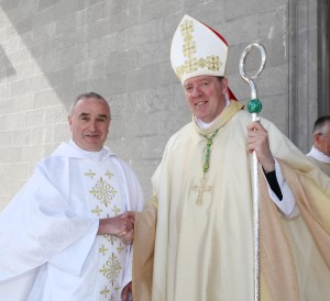 Pic shows newly ordained Fr Seamus O'Rourke with Bishop Francis Duffy of Ardagh And Clonmacnois after the cermony in St Mel's Cathedral Longford on Sunday. Pic John Mc Elroy.