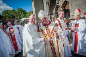 Newly ordained Fr Sean O'Donnell and Bishop Donal McKeown