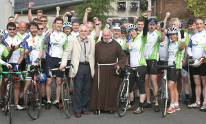 Br Kevin crowley and Christy Burke, Lord Mayor of Dublin, with cylists taking part in the The Great Escape charity cycle 2015 sponsored by Top Oil to raise funds for The Capuchin Day Centre for Homeless in Dublin City Centre. Cyclists leave Dublin on Friday to arrive in Belmullet, Co. Mayo today, a distance of 300km. Picture credit; Damien Eagers NO FEE 12/6/2015