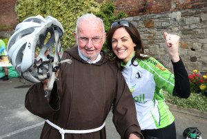 Br Kevin Crowley, director of the Capuchin Day Centre, with Cliona Ni Mhurchu, from Belmullet, Co. Mayo, before the start of The 2015 Great Escape charity cycle, 80 people, most of whom are gardaí, are participating in this charity cycle which will span 300 kilometres from Dublin to Belmullet, Co. Mayo and finish tomorrow, Saturday, July 13th, to raise funds for the Capuchin Day Centre, donatations can be made to the centre on www.homeless.ie. Picture credit; Damien Eagers NO FEE 12/6/2015