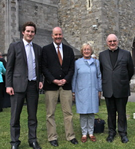 Descendents of Sir William Sullivan, brother of Fr John Sullivan, Hector and Peter Lloyd with Sandy Clarke and Fr Conor Harper SJ. Pic Lynn Glanville.