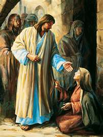 Jesus and woman with hem