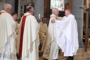 Pic shows newly ordained Fr Seamus O'Rourke being congratulated by fellow priests during the ceremony in St Mel's Cathedral Longford on Sunday. Pic John Mc Elroy.