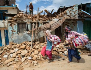 'Earthquakes don't kill people, buildings do' - badly damaged houses in a residential area of Kathmandu.  Conor O'Loughlin is Trócaire's Humanitarian Coordinator in Nepal.