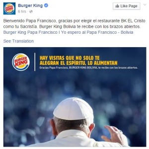 Burger King - Pope Francis