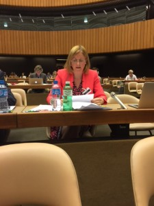 Cora Sherlock addressing the UN in the Palais Des Nations, Geneva