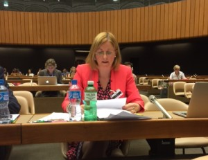 Cora Sherlock addressing the UN in the Palais Des Nations, Geneva