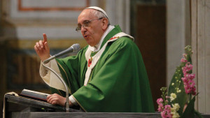 Pope Francis giving a sermon