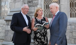 Author Patricia Kennedy chatting with Minister for Diaspora Mr Jimmy Deenihan TD and Bishop John Kirby Bishop of Clonfert and Chair of the Irish Episcopal Council for Emigrants. Pic John Mc Elroy.
