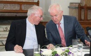 Bishop John Kirby Bishop of Clonfert and Chair of the Irish Episcopal Council for Emigrants speaking with the Minister for Diaspora Mr Jimmy Deenihan. Pic John Mc Elroy.