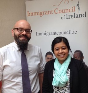 Brian Killoran of the Immigrant Council discusses our Anti Trafficking work with Karina G Garcia of US Embassy Dublin