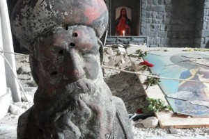 syria Bullet_ridden_statue_of_St_Efrem_in_Syrian_Orthodox_St_Marys_Church_in_Homs_Syria_Photo_Courtesy_of_Aid_to_the_Church_in_Need_CNA_3_31_15