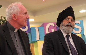 Bishop of Limerick Dr Brendan Leahy with Sikh leader Dr J.S. Puri at Signs of Hope gathering in Liverpool.