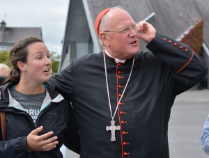 Cardinal Dolan with Clarissa Sutter from the US at Knock shrine.