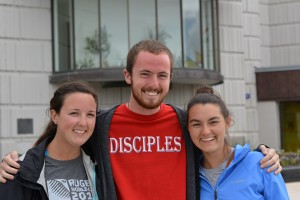 Students from Franciscan College Steubensville, Clarissa Sutter (20) from South Carolina, Cody Churter (19) from Missouri and Ashley Veazey (20) from Houston Texas.